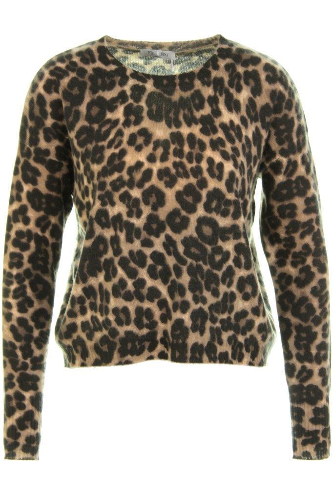 100% Cashmere-Pullover mit Leo-Print