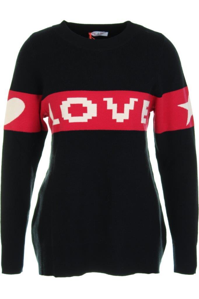 Viskose-Intarsien-Pullover LOVE mit Stern und Herz auf den Ärmeln