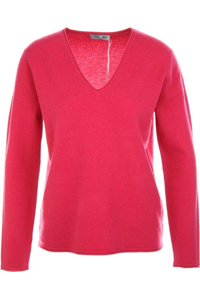 Cashmere-V-Pullover mit Rollkanten aus 100% Cashmere