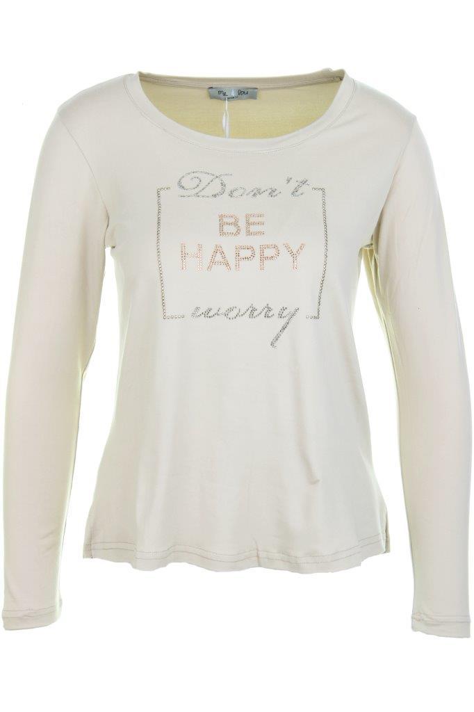 Viscose-Shirt mit soft-finish mit Strass-Applikation 'Don't worry BE HAPPY'