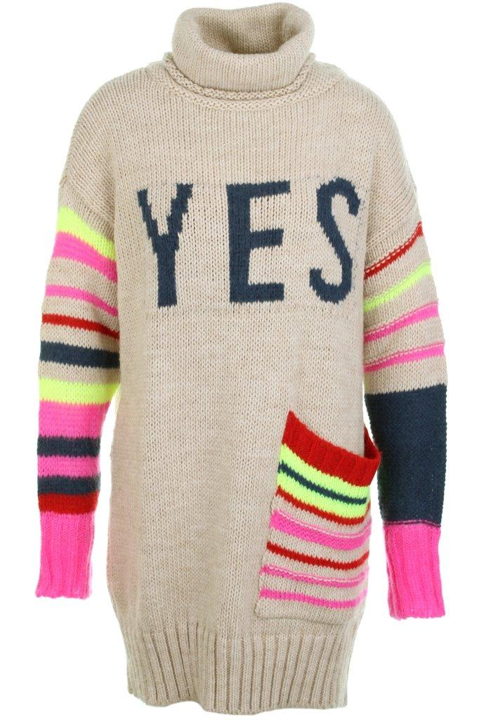 Rollkragenkleid Grobstrick YES-Intarsie + Streifen multicolor mit aufgesetzter Tasche