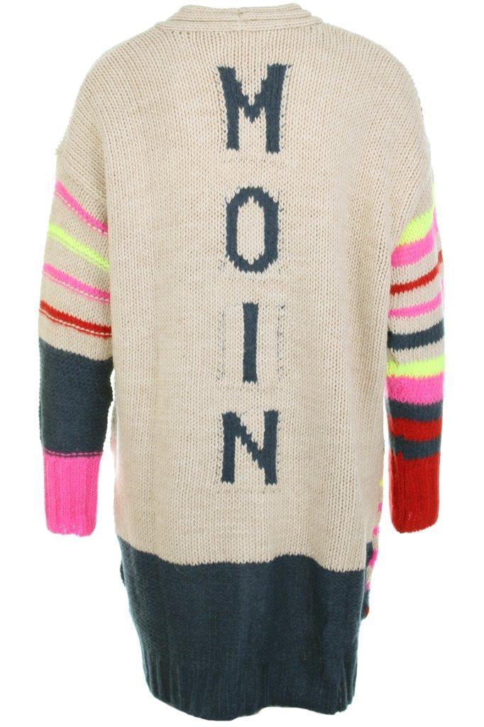 Grobstrickjacke lang mit MOIN-Intarsien und Streifen multicolor mit aufgesetzter Tasche