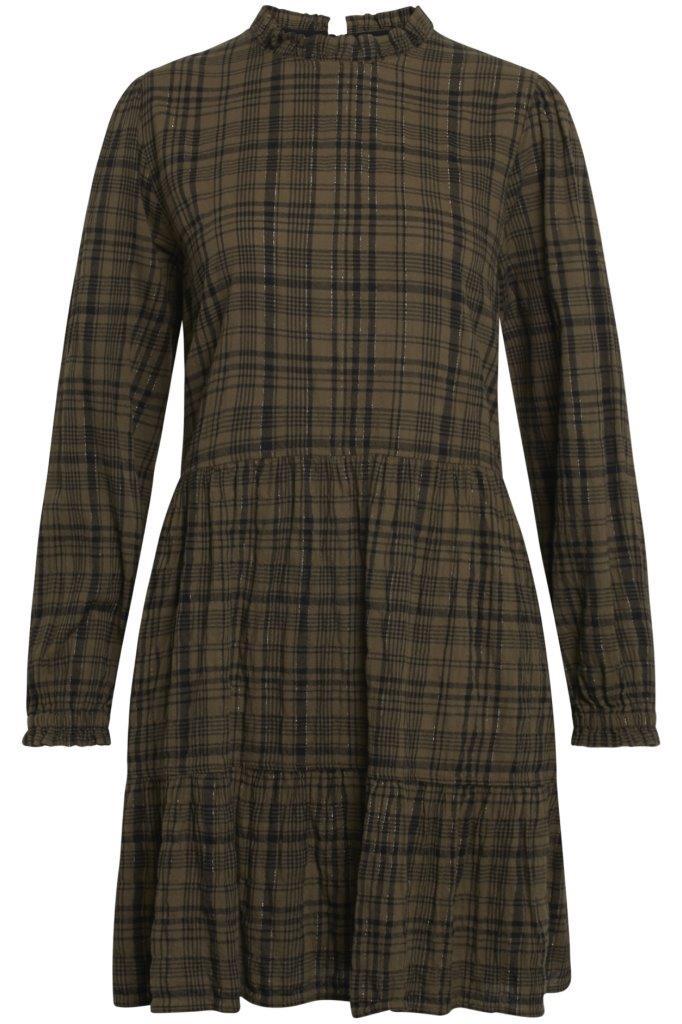 kariertes Kleid moderat oversized mit diskreter Rüschenkante am Hals und Puff an Schultern
