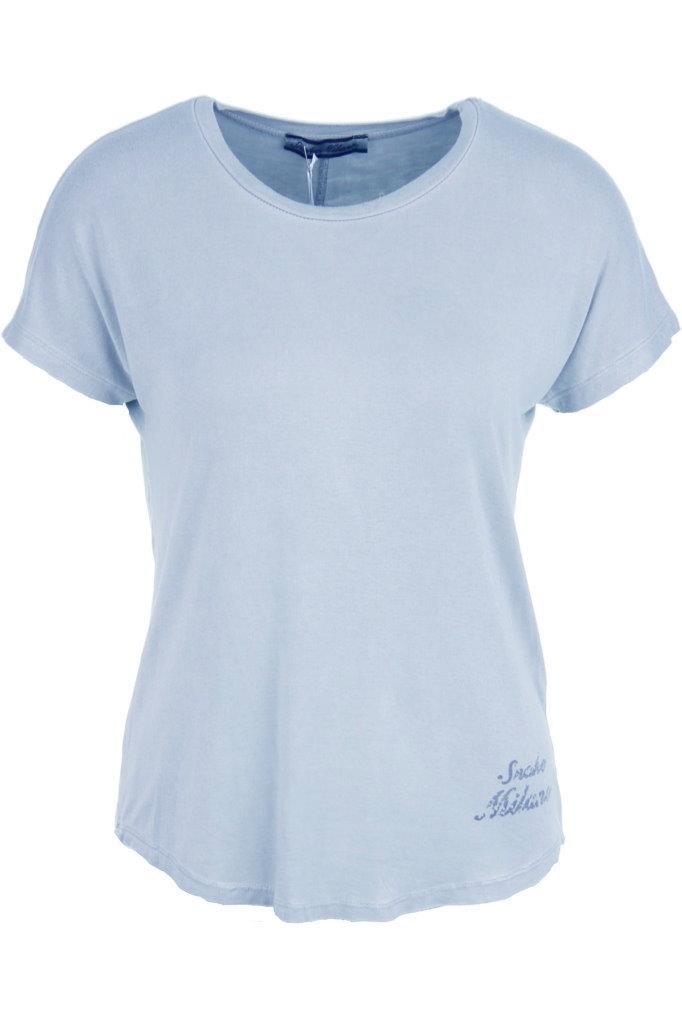 SNAKE MILANO T-Shirt im Vintagelook mit kleinem Logo-Print unten links und mittiger Rückenziernaht