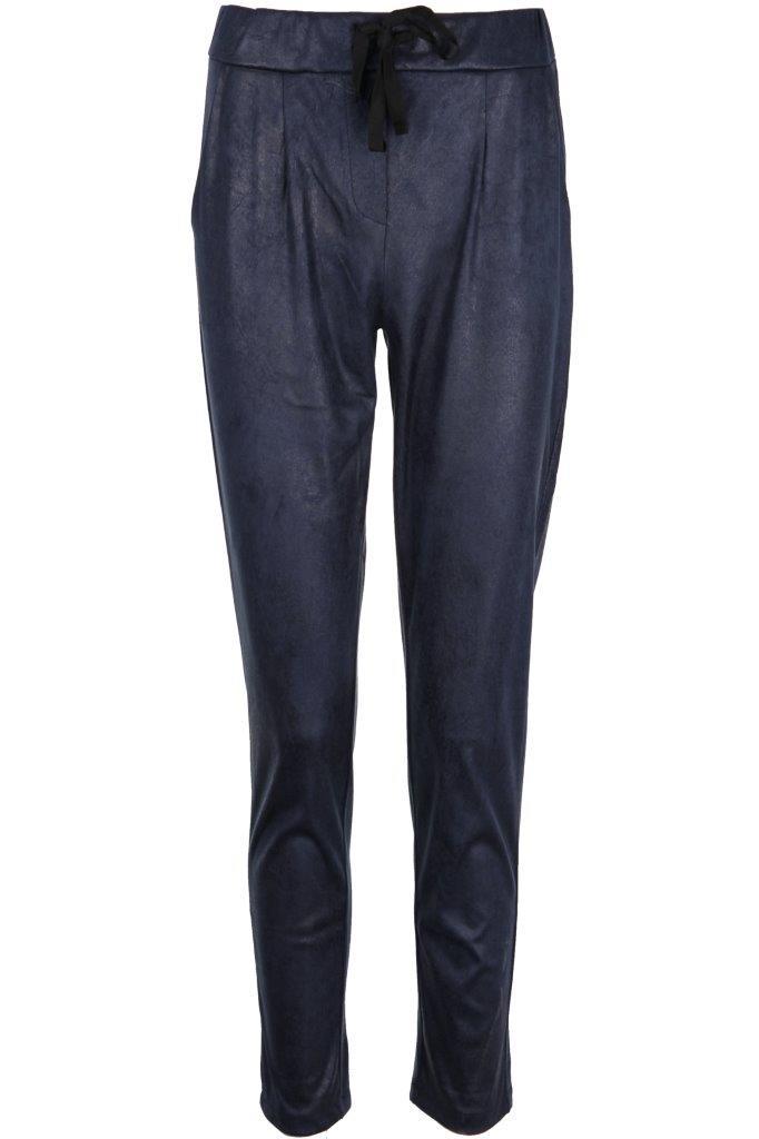 SNAKE MILANO Pants in Lederoptik mit dezentem Glitzereffekt