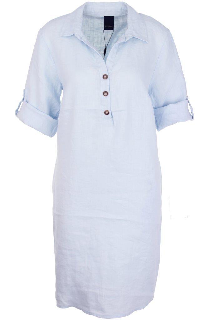 Leinenkleid mit Hemdkragen und Knopfleiste aus 100% supersoftem, hochwertigem getrommelten Leinen, kein Bügeln nach der Wäsche nötig