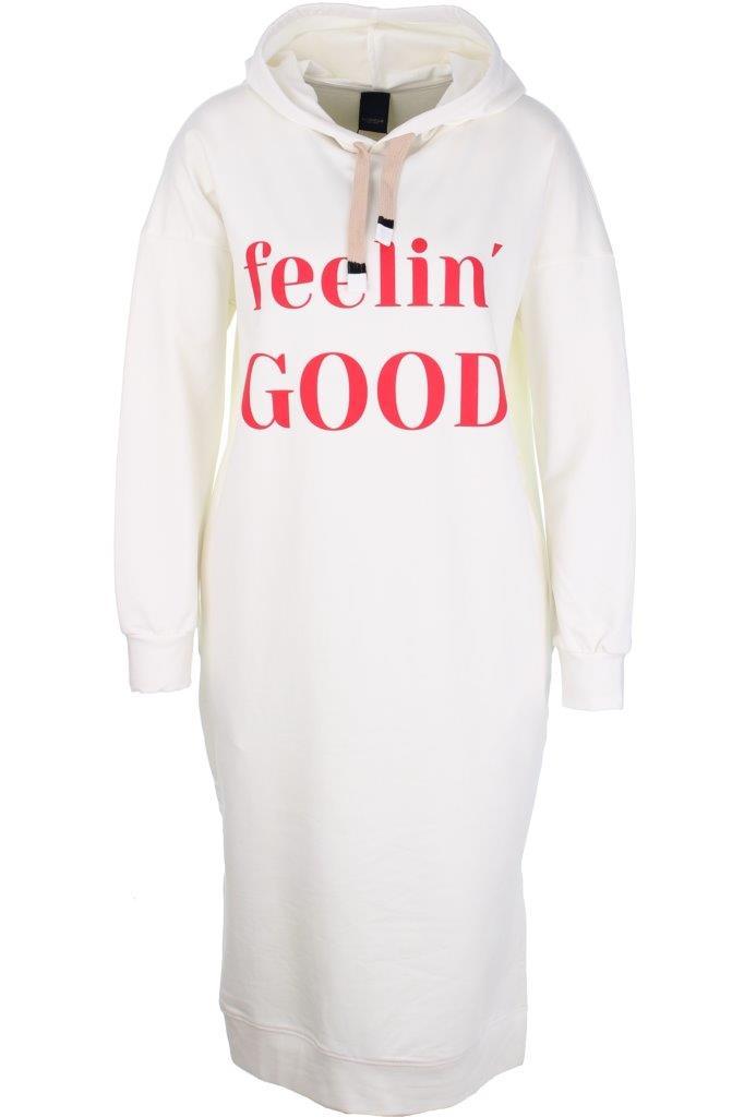 Baumwoll-Sweat-Hoodiekleid 'feelin good' mit Elasthan, seitlich eingelassene Taschen