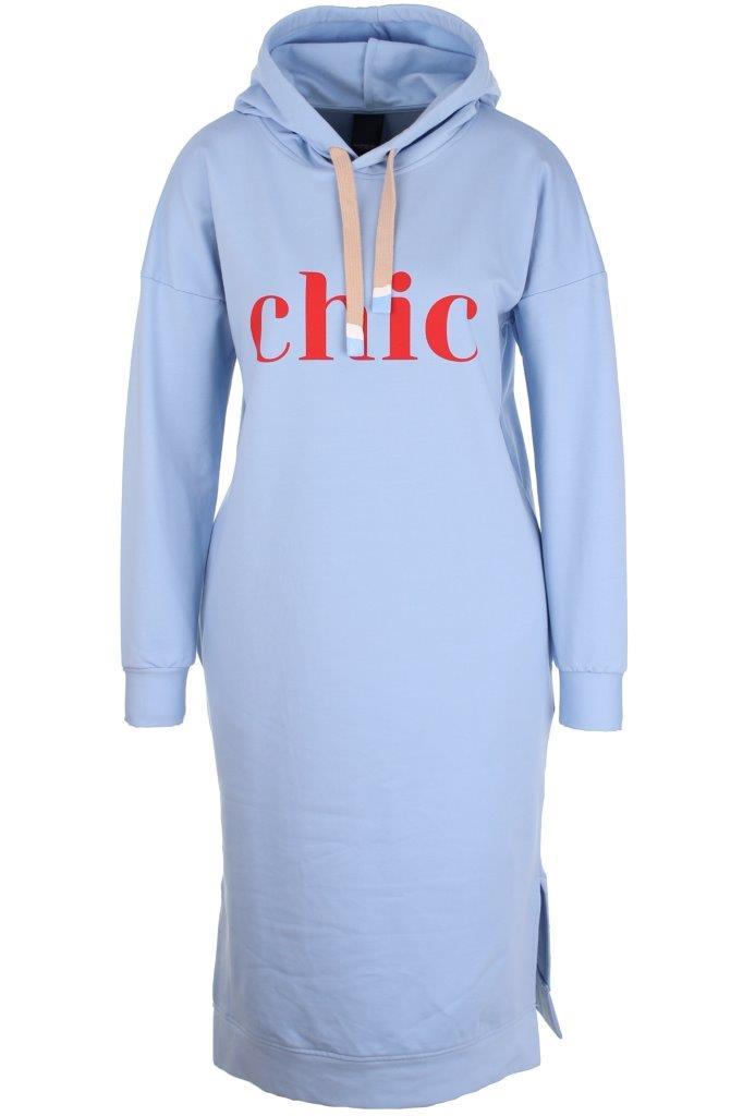 Baumwoll-Sweat-Hoodiekleid 'chic' mit Elasthan, seitlich eingelassene Taschen