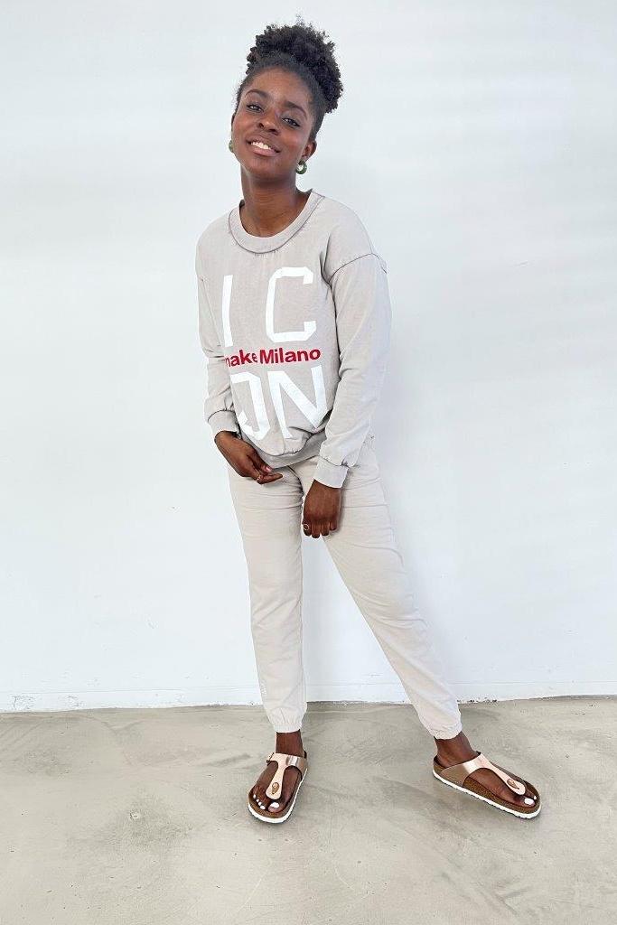SNAKE MILANO  Baumwoll-Sweatshirt 'ICON' Spezialfärbung - VORORDER-Artikel mit Liefertermin Mitte August - Mindestmenge 3 in einer Farbe
