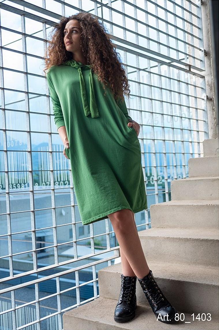 SNAKE MILANO  Baumwollsweat-Hoodiekleid mit seitlich eingelassenen Taschen - VORORDER-Artikel mit Liefertermin Mitte August - Mindestmenge 3 in einer Farbe