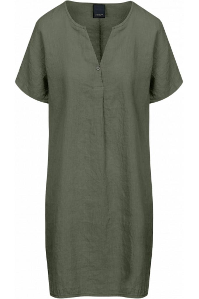 Leinenkleid - lässiges Kurzarmkleid mit V-Ausschnitt und kleinem Knopf, aus 100% supersoftem, hochwertigem getrommelten Leinen, kein Bügeln nach der Wäsche nötig