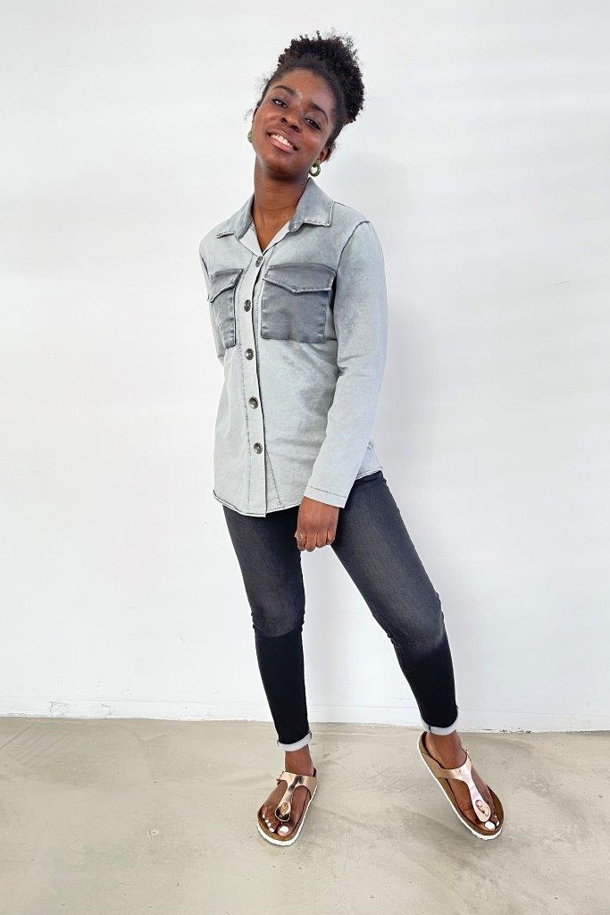 SNAKE MILANO  Overshirt/Jacke aus Baumwollsweat Spezialfärbung - VORORDER-Artikel mit Liefertermin Mitte August - Mindestmenge 3 in einer Farbe