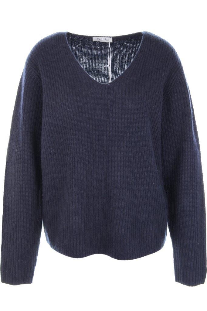 Cashmere-V-Pullover weit, Perlfang-Rippe