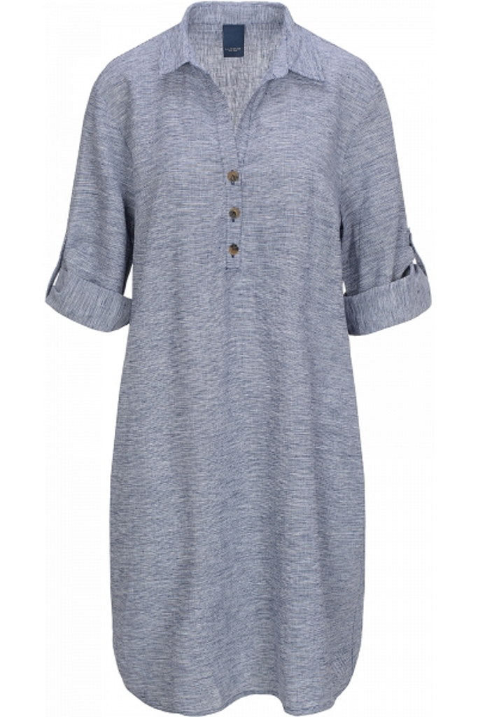 Lässig bequemes Leinen-Viskose-Kleid mit seitlichen Eingrifftaschen und Hemdkragen. Riemen-/Faltdetail an den Ärmeln.