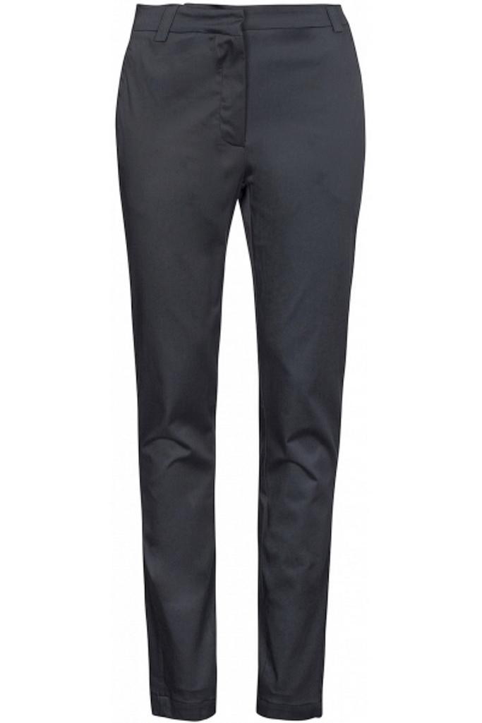 wunderschöne Baumwoll-Viskose-Hose mit Stretch, Reißverschluss in den Taschen und glänzendem Taschendetail hinten. Normale Passform